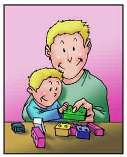 Un padre gioca insieme al figlio con le costruzioni.
