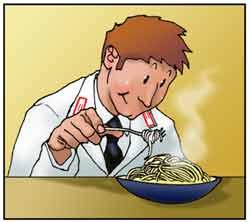 Un carabiniere dei N.A.S. controlla la genuinità della pasta.