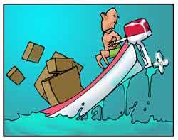 Un bagnante guida un motoscafo.