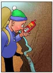 Un escursionista bloccato davanti ad un precipizio chiama telefonicamente il soccorso.