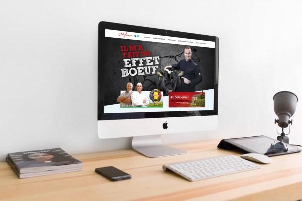 Dufrais - Boucheries Dufrais - Campagne Effet Boeuf - Caractère Advertising - Communication & Publicité - Partenariat avec Julien Lapraille - Visuel site web - Mock Up bureau