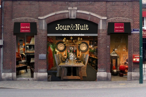 Jour & Nuit - Signalétique & Signmaking - Vitrine showroom - Magasin - boutique - meubles - déco - verviers - Caractère Advertising