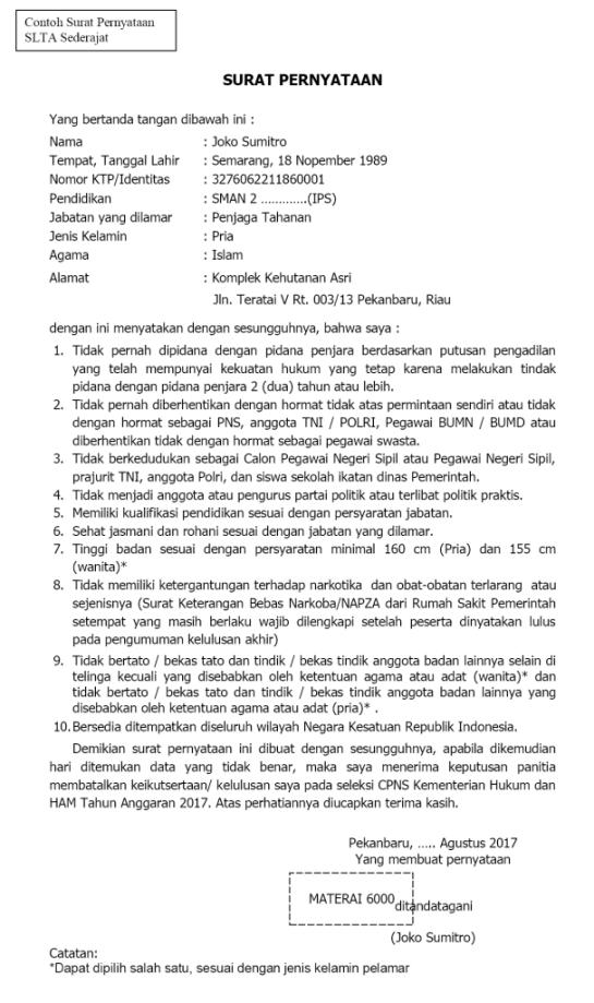 11+ Contoh surat pernyataan cpns kemenkumham terbaru yang baik