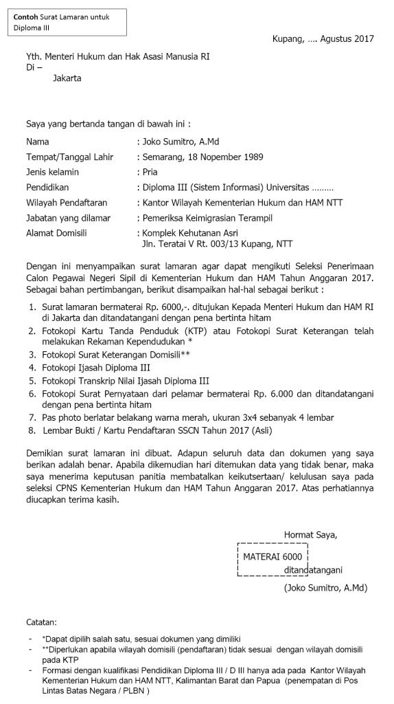 Contoh Surat Lamaran Cpns Kemenkumham 2019 Lulusan D3 S1