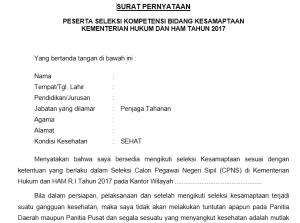 Contoh Surat Lamaran Pernyataan CPNS Kemenkumham 2018 Gratis Download