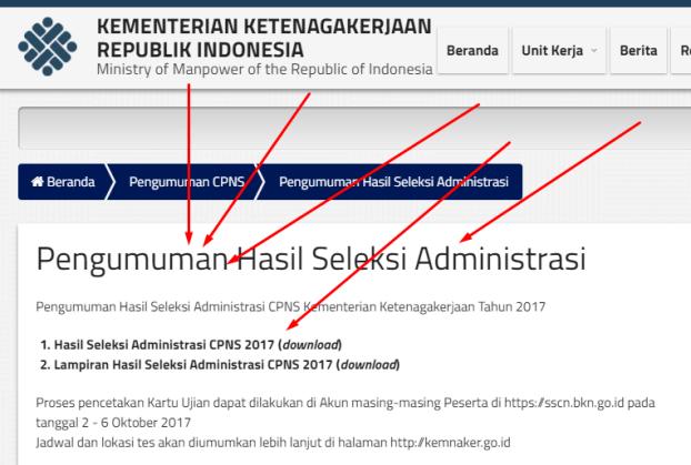 Pengumuman Daftar Nama Lulus Seleksi Administrasi CPNS Kementerian Ketenagakerjaan 2017