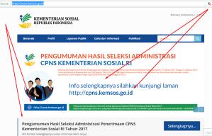 Pengumuman Hasil SKD CPNS Kementerian Sosial Kemensos 2017