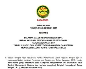 Daftar Nama Lulus Hasil SKB CPNS BASARNAS 2017