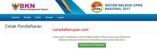 Cetak Kartu Pendaftaran CPNS