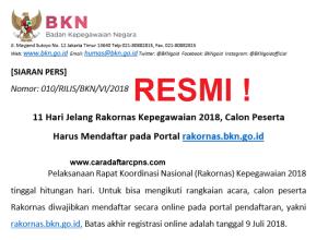 11 Hari Jelang Rakornas Kepegawaian 2018, Calon Peserta Harus Mendaftar pada Portal rakornas.bkn.go.id