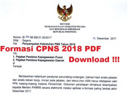 Inilah Pengumuman Formasi CPNS 2018 pdf