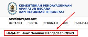 Hoax Seminar Nasional Pengadaan CPNS