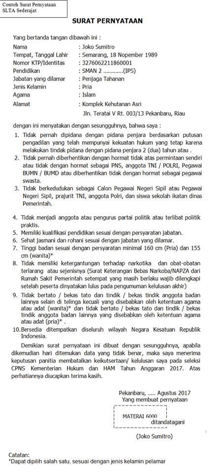 Contoh Surat Pernyataan CPNS 2018 | Download Format Surat ...