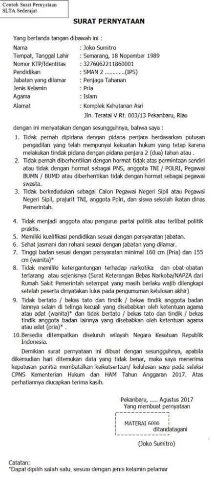 Contoh Surat Pernyataan Cpns 2018 Download Format Surat Lamaran Cpns