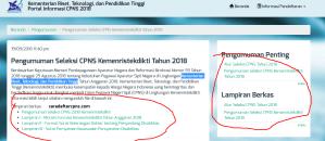 Hasil Akhir Seleksi CPNS Ristekdikti 2018