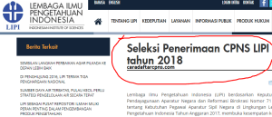Pengumuman Hasil Tes SKD CPNS Lipi 2018