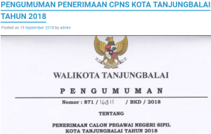 Hasil Akhir Seleksi CPNS Kota Tanjungbalai 2018