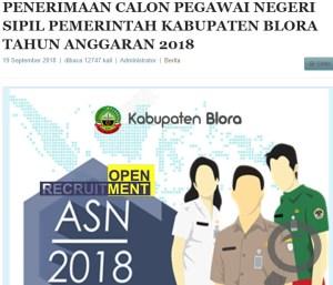 Pengumuman Hasil Tes SKD CPNS Kabupaten Blora 2018