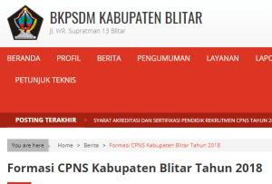 Pengumuman Hasil Akhir Seleksi Administrasi CPNS Blitar 2018