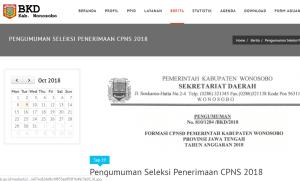 Pengumuman Hasil Seleksi Administrasi CPNS Kabupaten Wonosobo 2018