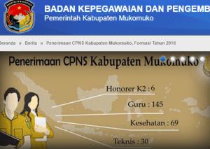 Pengumuman Hasil Tes SKD CPNS Kabupaten Mukomuko 2018