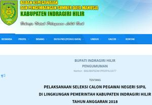 Pengumuman Hasil Tes SKD CPNS Kabupaten Indragiri Hilir 2018