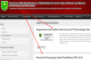 Pengumuman Hasil Tes SKD CPNS Kabupaten Indragiri Hulu 2018