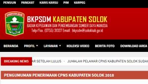 Pengumuman Hasil Tes SKD CPNS Kabupaten Solok 2018