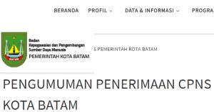Hasil Akhir Seleksi Administrasi CPNS Kota Batam 2018