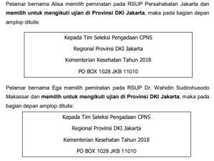 Alamat PO BOX Pengiriman Berkas Syarat CPNS Kemenkes 2018