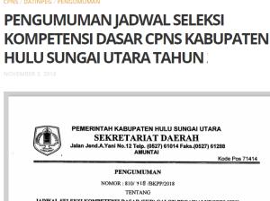 Pengumuman Hasil Tes SKD CPNS Kabupaten Hulu Sungai Utara 2018