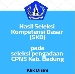Pengumuman Hasil Tes SKD CPNS Kabupaten Badung 2018
