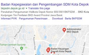 Pengumuman Hasil Tes SKD CAT CPNS Kota Depok 2018