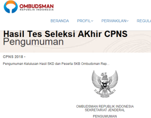 Hasil Tes SKB CPNS Ombudsman 2018 Lulus Wawancara Psikotes