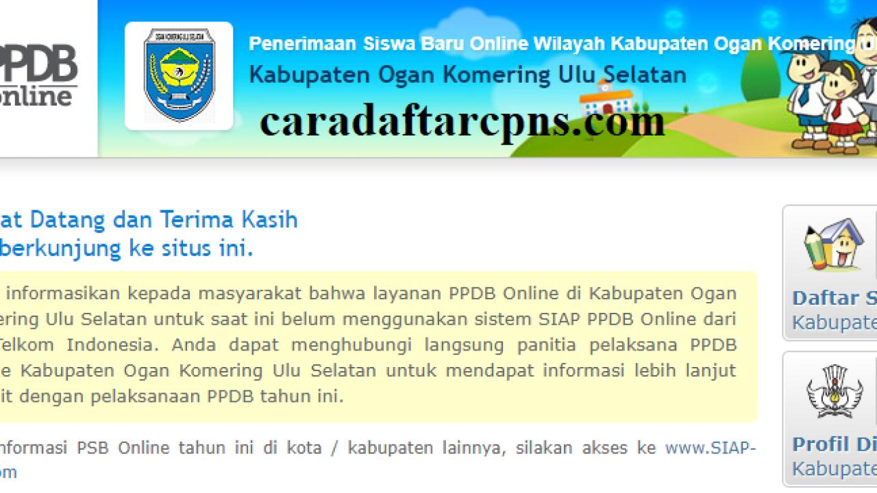 Pendaftaran Ppdb Online Smp Kabupaten Ogan Komering Ulu Selatan 2019