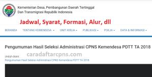 Pengumuman Hasil SKB CPNS Kemendesa Formasi 2019