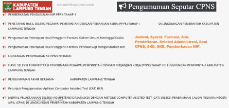 Pengumuman CPNS Kabupaten Lampung Tengah 2021 Lulusan SMA SMK D3 S1 S2