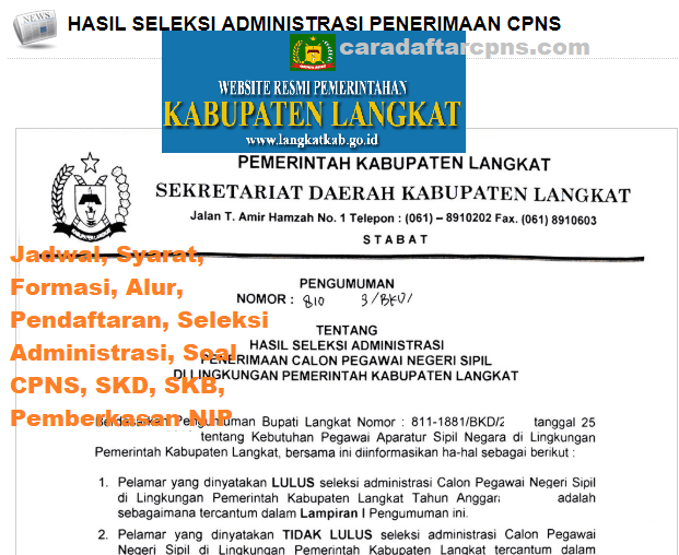 Jadwal Pendaftaran CPNS Kabupaten Langkat 2021 Lulusan SMA SMK D3 S1 S2