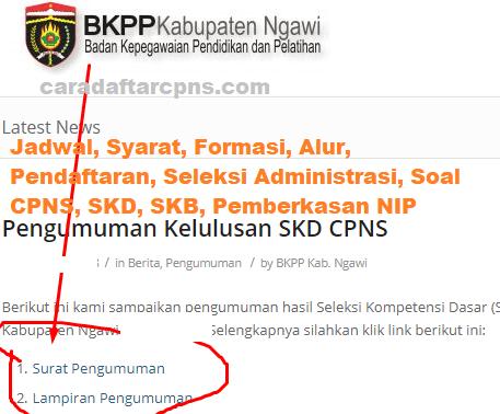 Pengumuman Hasil SKD CPNS KABUPATEN NGAWI 2021
