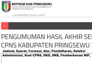Pengumuman Hasil SKB CPNS Kabupaten Pringsewu Formasi 2019