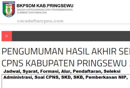 Pengumuman CPNS Kabupaten Pringsewu 2021 Lulusan SMA SMK D3 S1 S2