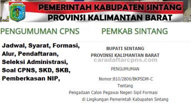 Pengumuman CPNS Kabupaten Sintang 2021 Lulusan SMA SMK D3 S1 S2
