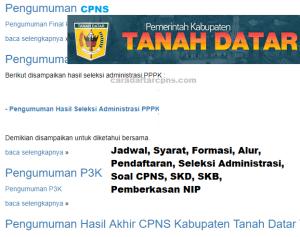 Pengumuman CPNS Kabupaten Tanah Datar 2021 Lulusan SMA SMK D3 S1 S2