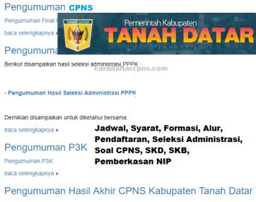 Pengumuman Hasil SKD CPNS KABUPATEN TANAH DATAR 202