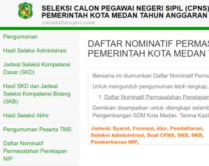 Hasil Seleksi Administrasi CPNS Kota Medan 2019