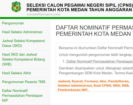 Hasil Seleksi Administrasi CPNS Pemkot Medan 2021