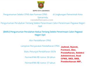 Jadwal Pendaftaran CPNS Kota Samarinda 2021 Lulusan SMA SMK D3 S1 S2