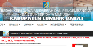 Pengumuman Hasil Seleksi Administrasi CPNS Kab Lombok 2019