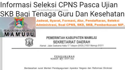 Pengumuman CPNS Kabupaten Mamuju 2021 Lulusan SMA SMK D3 S1 S2