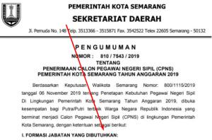 Pengumuman Hasil SKB CPNS Pemkot Semarang Formasi 2019